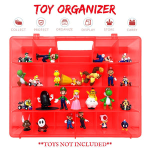 Life Made Better Small Action Figure Organizer Case, Compatible with Mario Bros Action Figures, Kid Storage