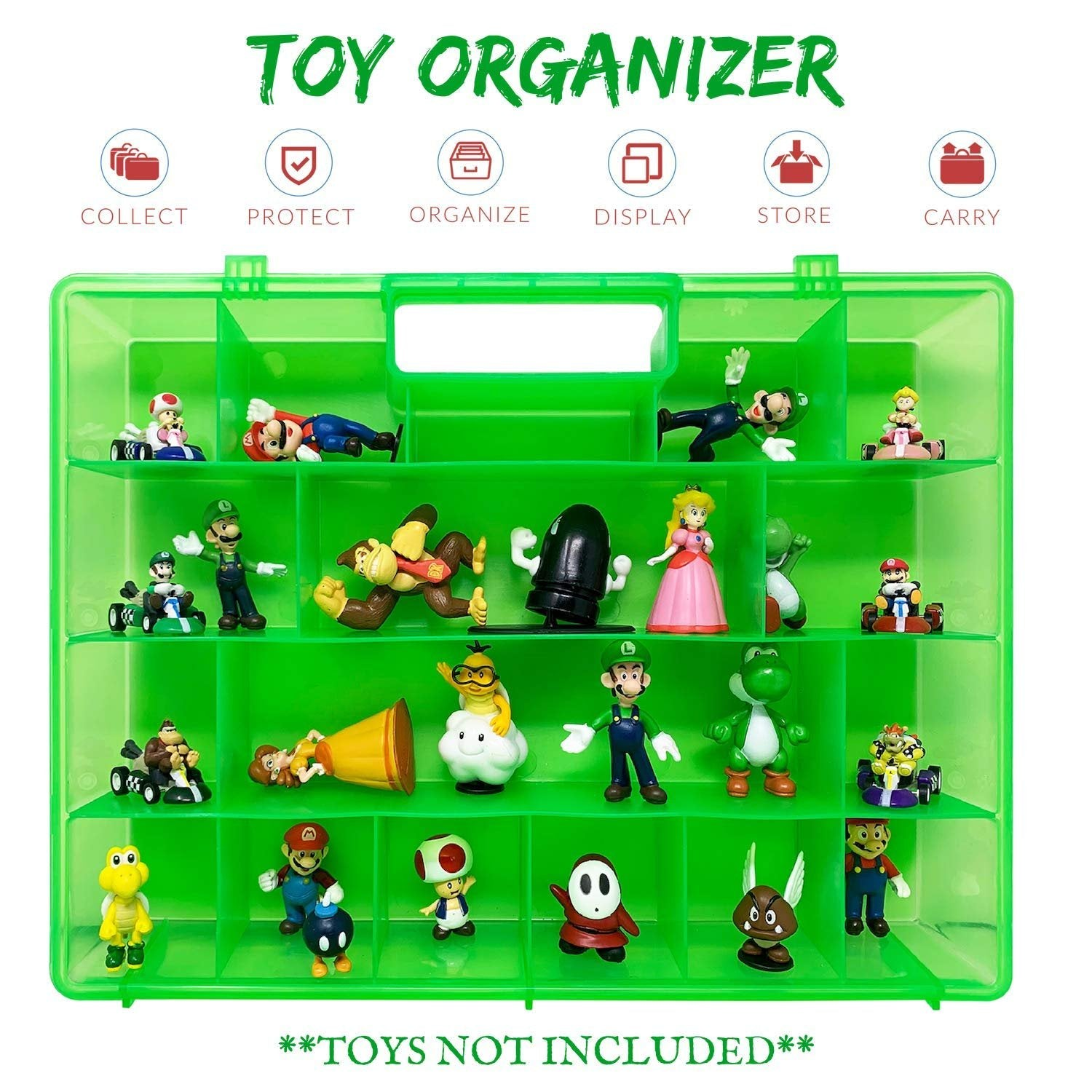 Life Made Better, Small Action Figure Organizer Case, Compatible with Mario Bros Action Figures, Kid Toy Case