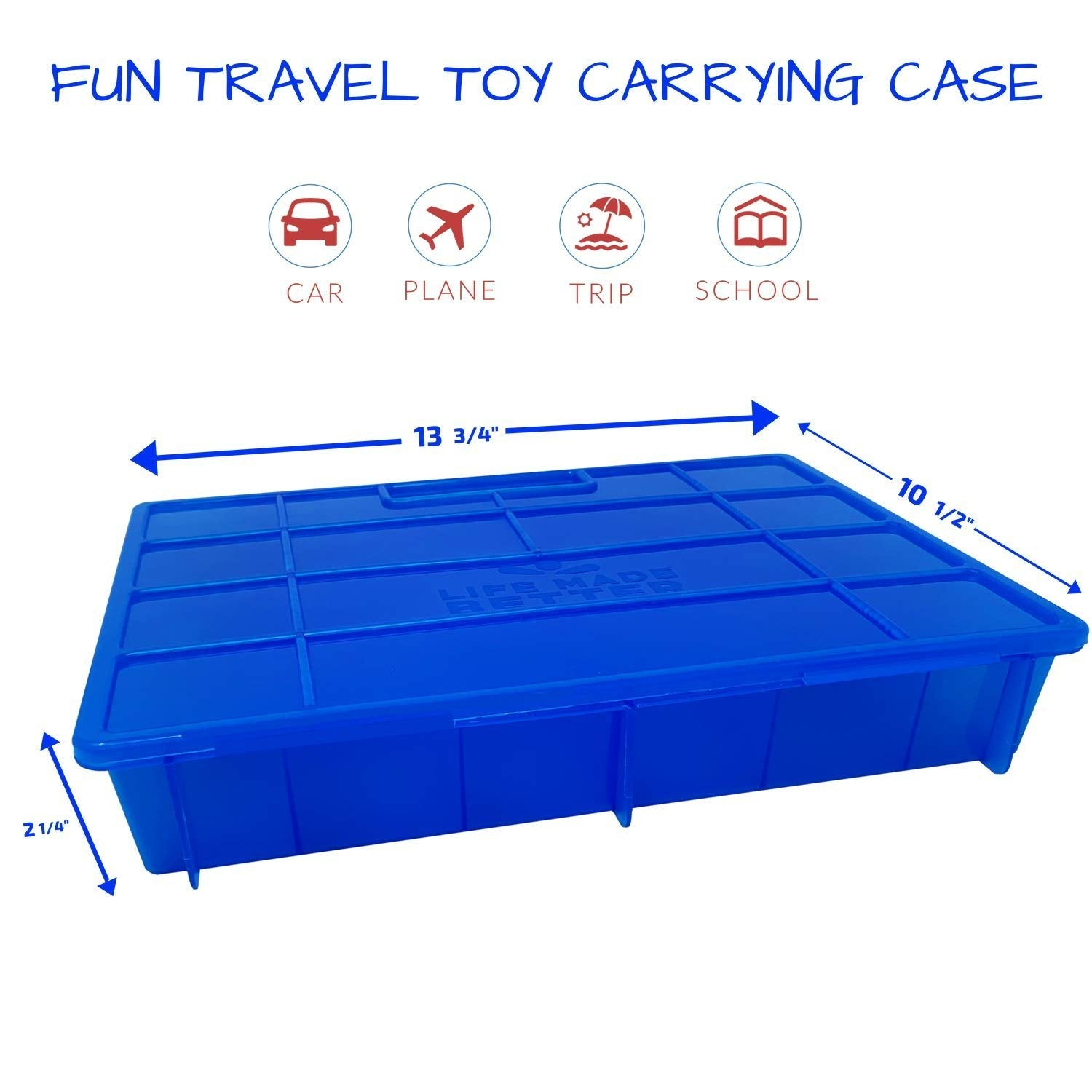 Life Made Better Toy Storage, Carrying, and Travel Case in Blue, Compatible with Transformer BotBot Figurines, Includes Pre-Cut Compartments, Secure Clasp System, and Built-in Carrying Handle