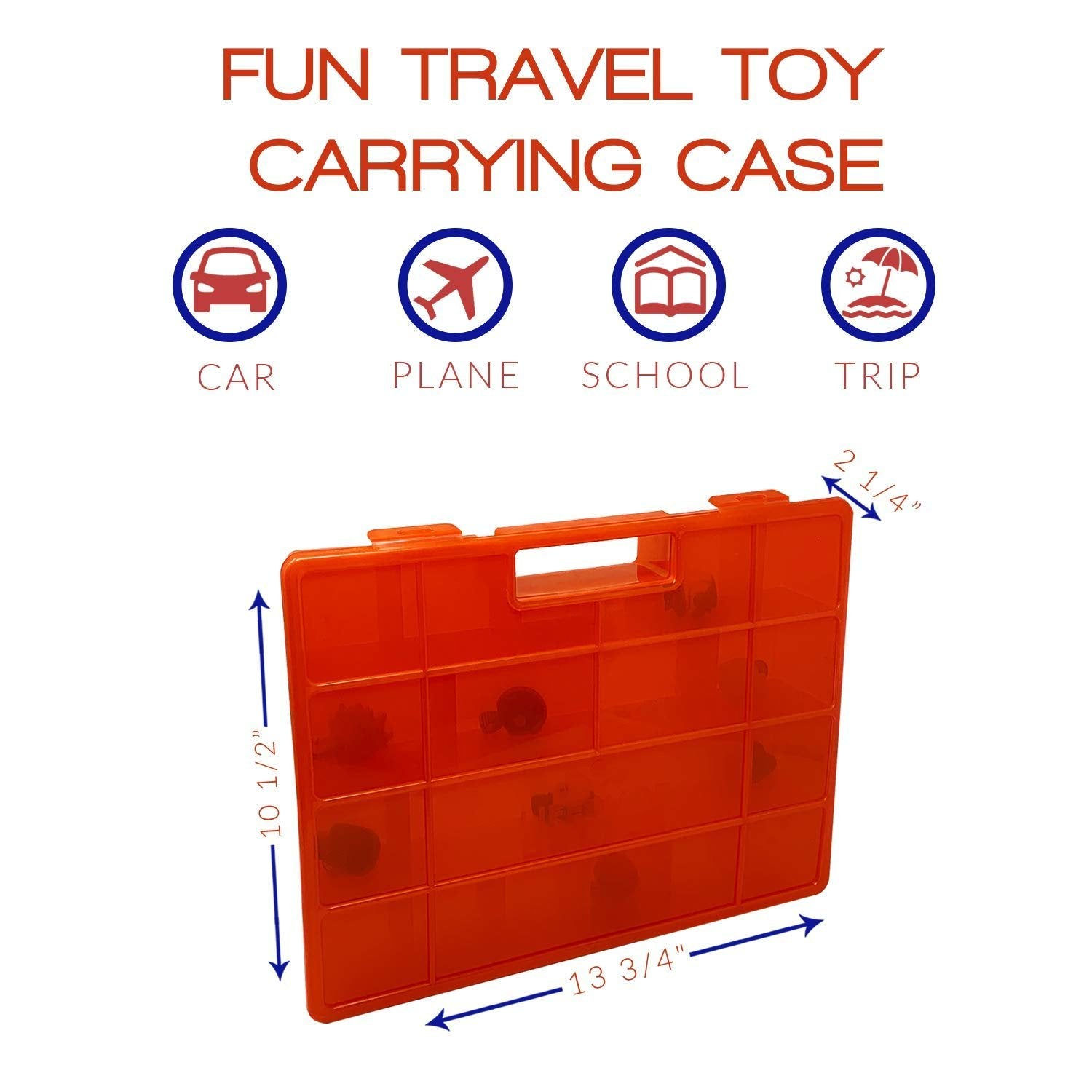 Life Made Better New 2.0 Toy Storage, Organizer, and Carrying Case in Red. Compatible with Transformer BotBot Figures, Includes Carrying Handle and Secure Clasp System