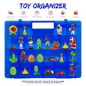 Life Made Better, Light Weight Blue Portable Toy Storage Case, Compatible to fit Plants vs Zombies, Carrying Case for Toy Figurines and Accessories for Kids
