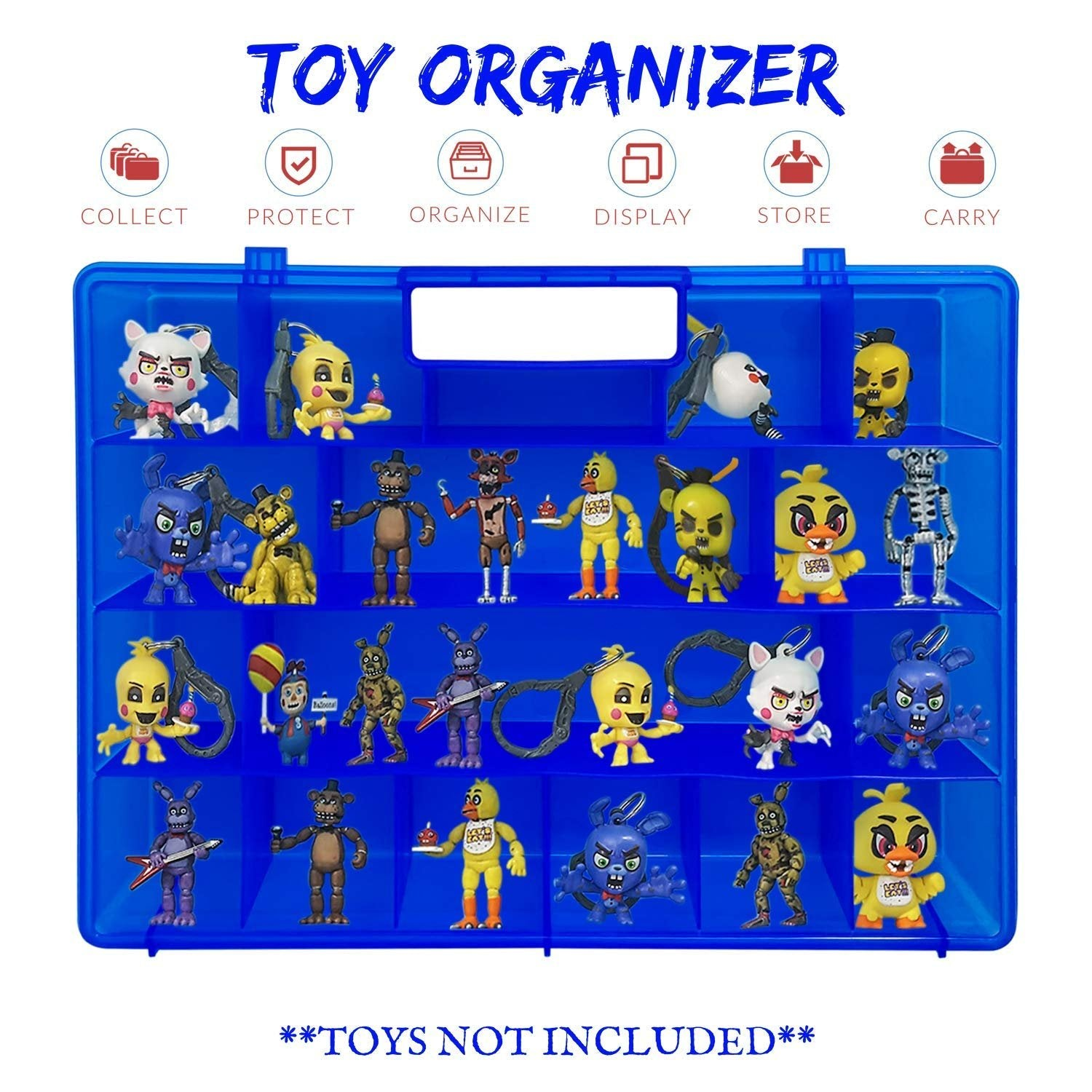 Life Made Better Favorite Action Figures Blue Case, Works with Five Nights at Freddy Figures, Solid Dependable, Light Box with Strong Built-in Handle, LMB Accessory & Organizer