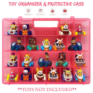 Life Made Better Kid-Durable Protective Toy Carrying Case with Multiple Compartments for 20+ Toys Compatible with Funko Racers Figures - Pink