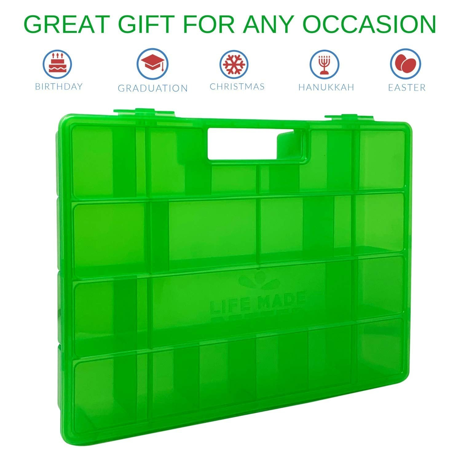 Life Made Better, Light Weight Green Toy Storage Box. Carrying Organizer Perfect for Disney Pins Storage, not Created by Disney, Accessories Made by LMB