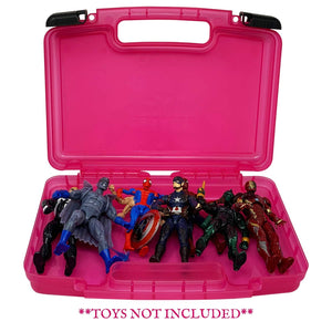 Life Made Better, Portable Toy Storage Organizer, Compatible with 6 Inch Marvel Legends Action Figures, Pink Toy Accessories Organization Carrying Case, Made by LMB