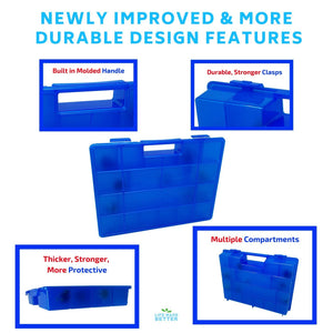 Life Made Better Blue Toy Storage Organizer 2.0 Newly Improved, Durable, Built in Handle, Toy Storage Organizer Compatible with Beyblade, Battle Box for Kids, Compartment Playset Organizer