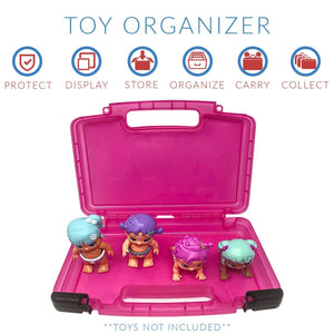 Life Made Better Kid's Toy Organizer Box, Compatible with Little Live Bizzy Bubs, Holds 4-8 Toy Babies, Pink