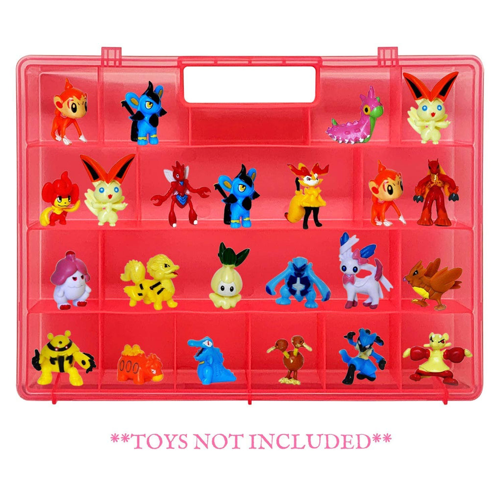 Life Made Better Pink Toy Organizer, Kid Friendly, Newly Upgraded Design Storage Case, Compatible with Pokemon TM Action Figures, Made by LMB, Toy Accessories for Kids