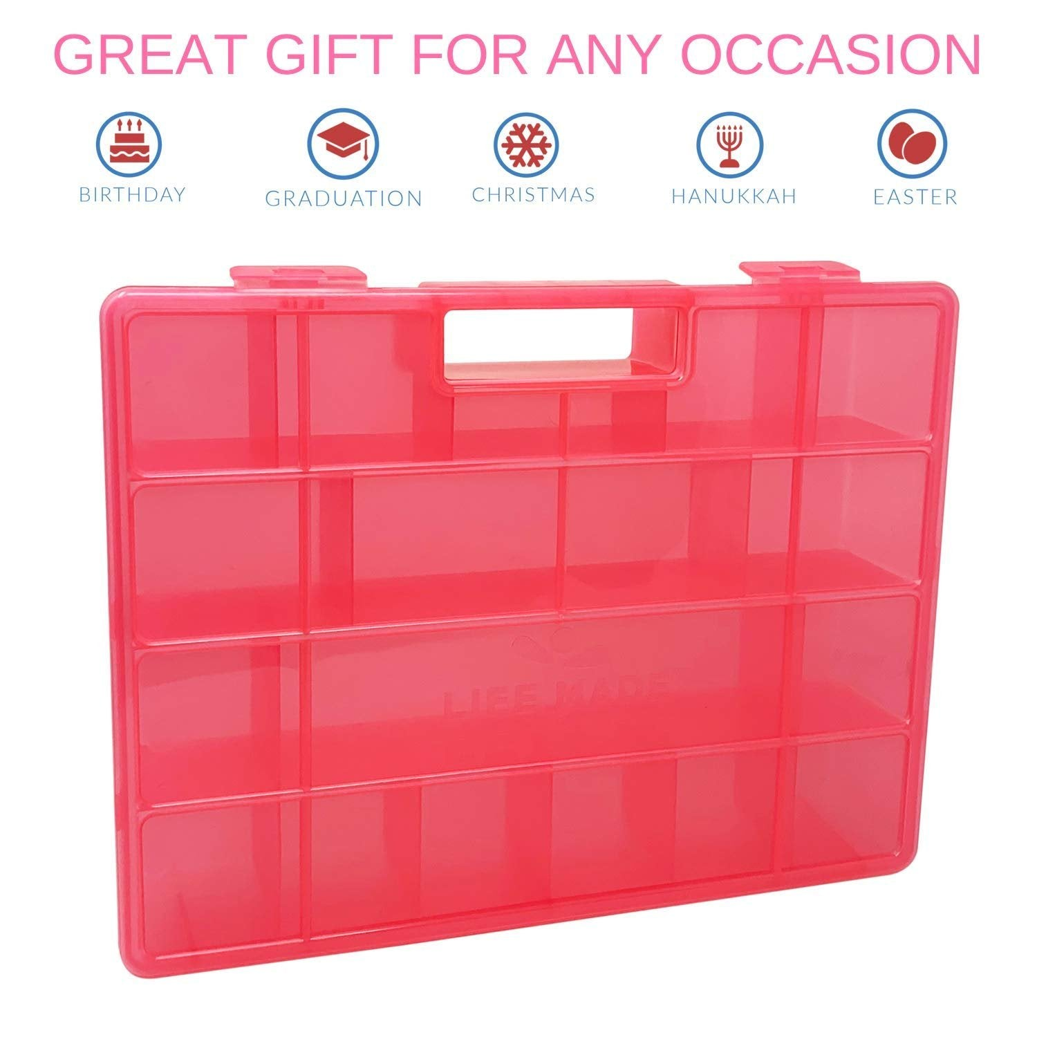 Life Made Better, a Fun Favorite Pink Toy Storage Carrying Box, Compatible with Littlest Pet Shop Figures & Toys, Made for Kids by LMB, Teach Organization & Sorting