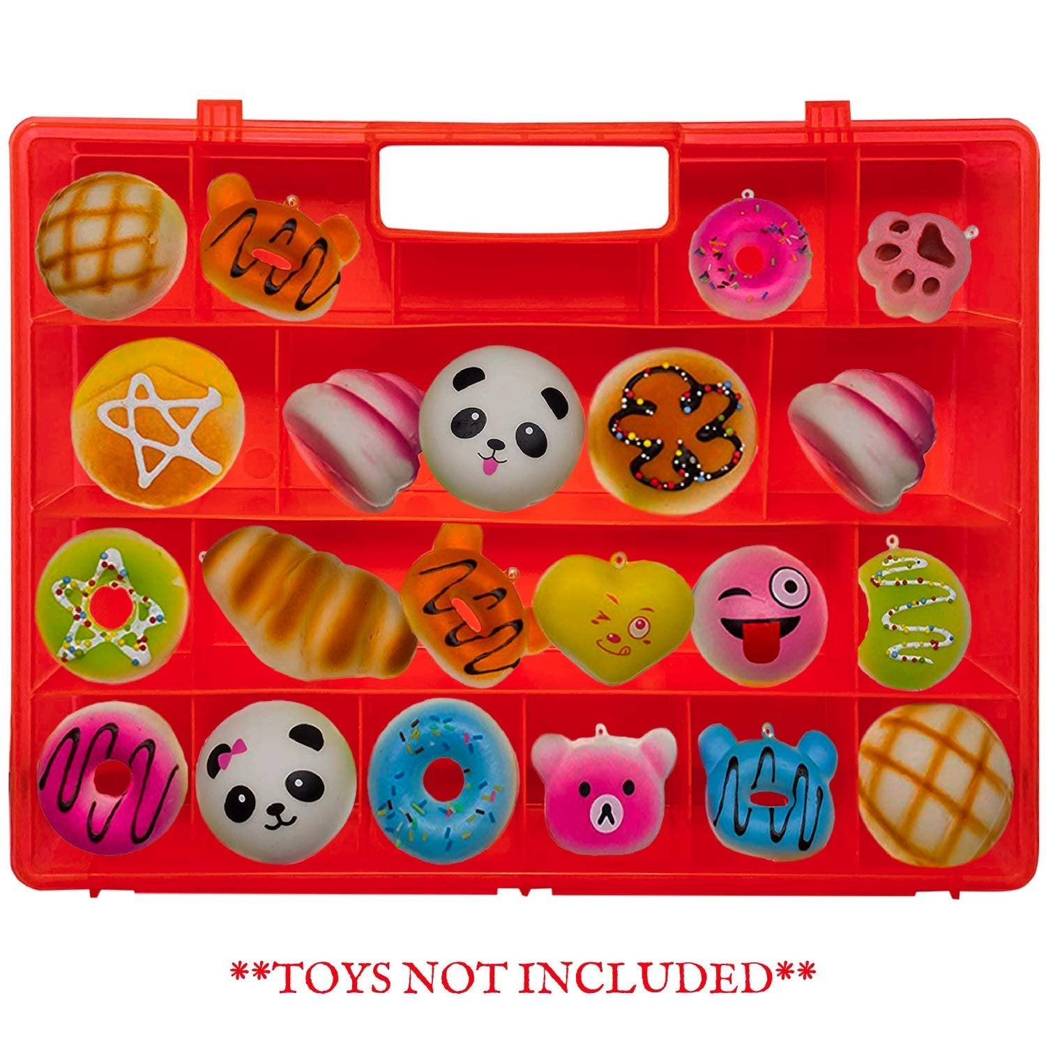 Life Made Better, Newly Designed, Tougher & Longer-Lasting Red Toy Storage Box, Compatible with Squishies, Kid-Friendly, Stronger All-in-One Handle, Made