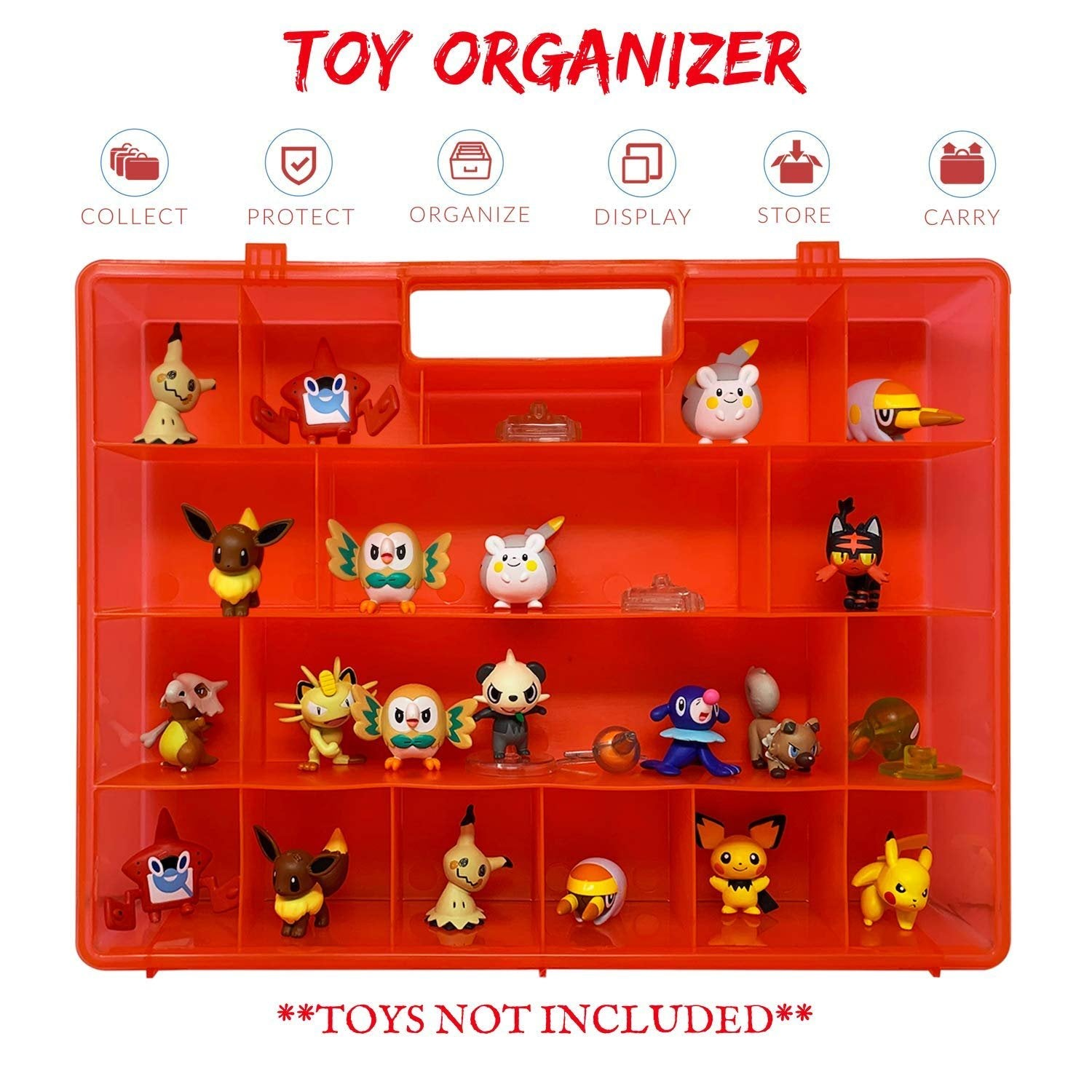 Life Made Better, Red Heavy-Duty Protective Action Figure Toy Carrying Storage Case, Compatible with Pokemon, not Made by Pokemon