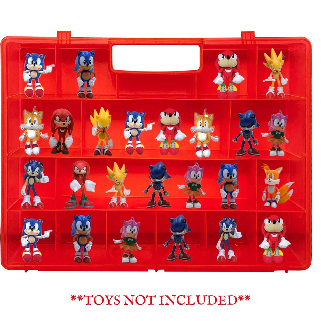 Life Made Better Red Toy Mini Figure Holder Case, Compatible with Sonic The Hedgehog, Stores & Protects Action Figures & Toy Accessories, Made
