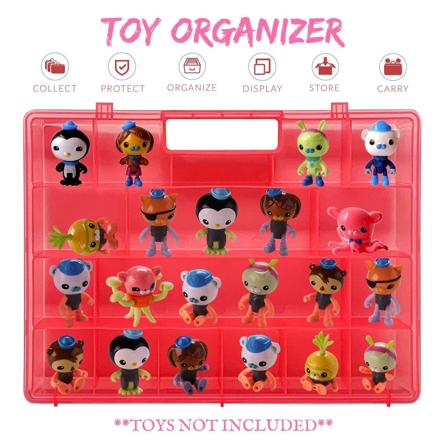 Life Made Better, Pink Box to Protect Figurines and Playset Accessories, Light-Weight Toy Carrying Case for Kids, Compatible with Octonauts, Made by LMB