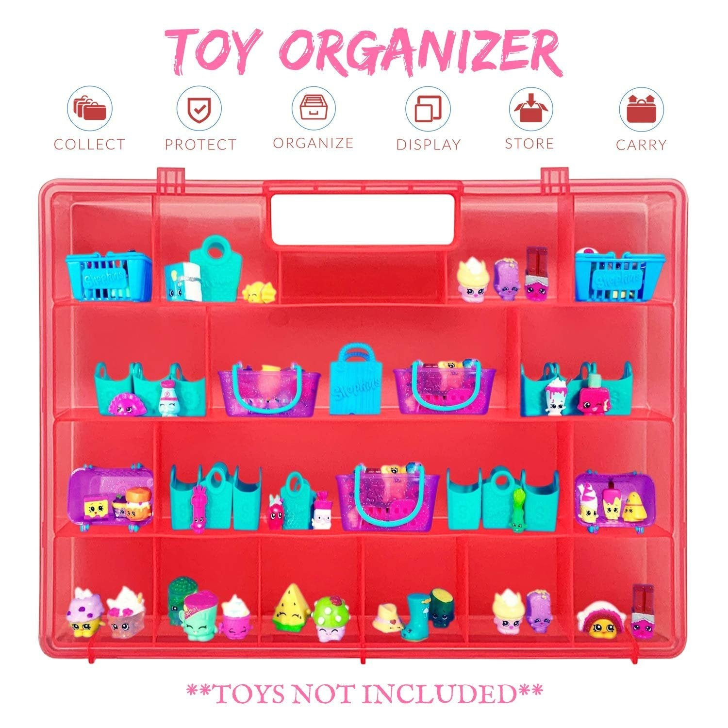 Life Made Better, Upgraded, Solid Toy Holder, Stronger Molded Kid-Friendly Handle, Easy and Fun Sorting & Storing, Compatible Carrying Case for Shopkins, Pink