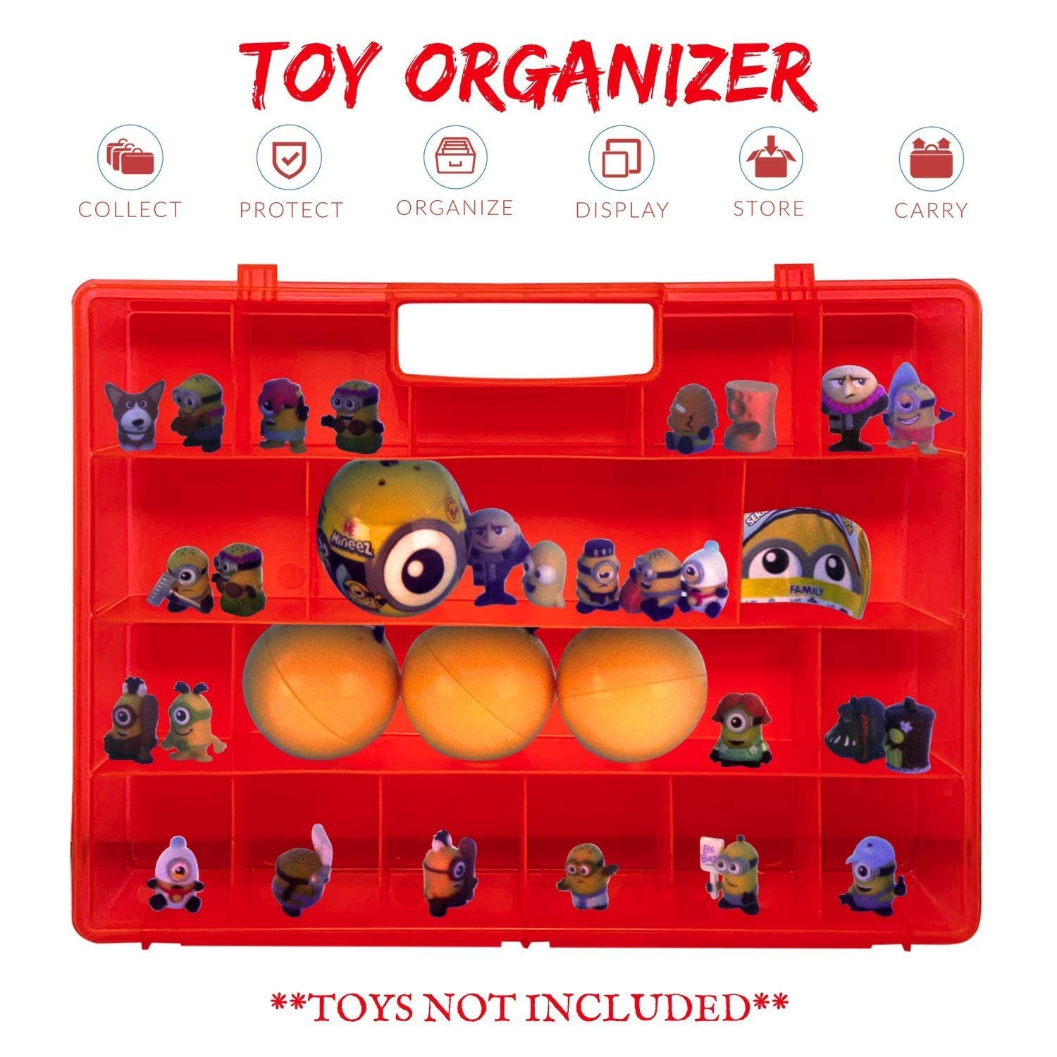 Charmant Life Made Better Red Easy To Use Toy Figures Storage Box. Compatible With