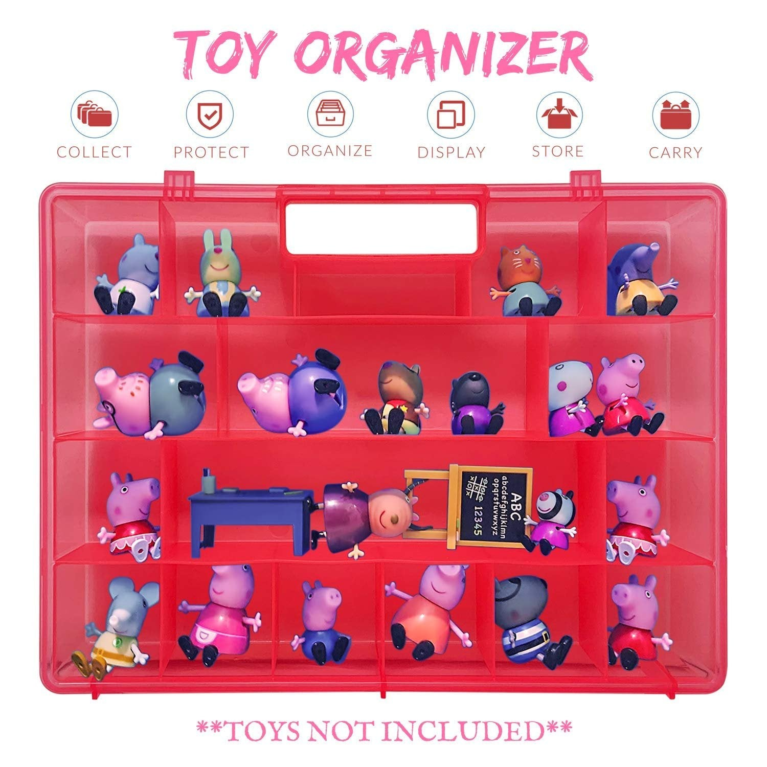 Life Made Better Holder, Pink Protector Toy Storage Carrier, Compatible with Peppa Pig Figures Playset Organizer. Accessories Designed for Kids by LMB