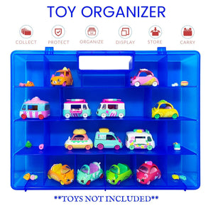 Life Made Better Blue Toy Storage Organization Box, Compatible Carrying Case & Toy Accessory for Shopkins Cutie Cars. Not Created by Shopkins