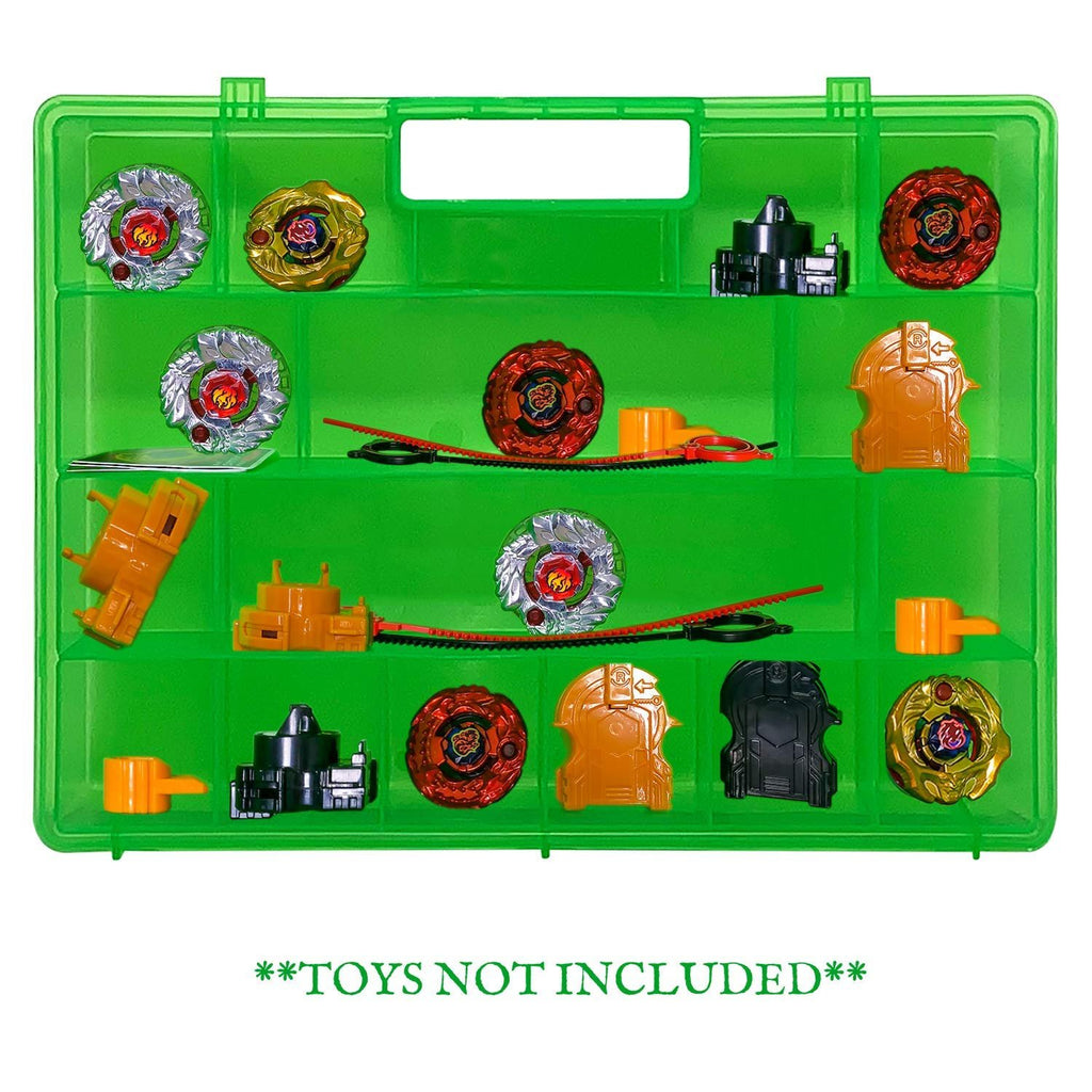 Life Made Better Green Toy Storage Organizer New 2.0 Case, More Durable, Reinforced All-In-One Handle, Toy Storage Carrying Case Compatible with Beyblade, Battle Box for Kids, Strengthened Compartment