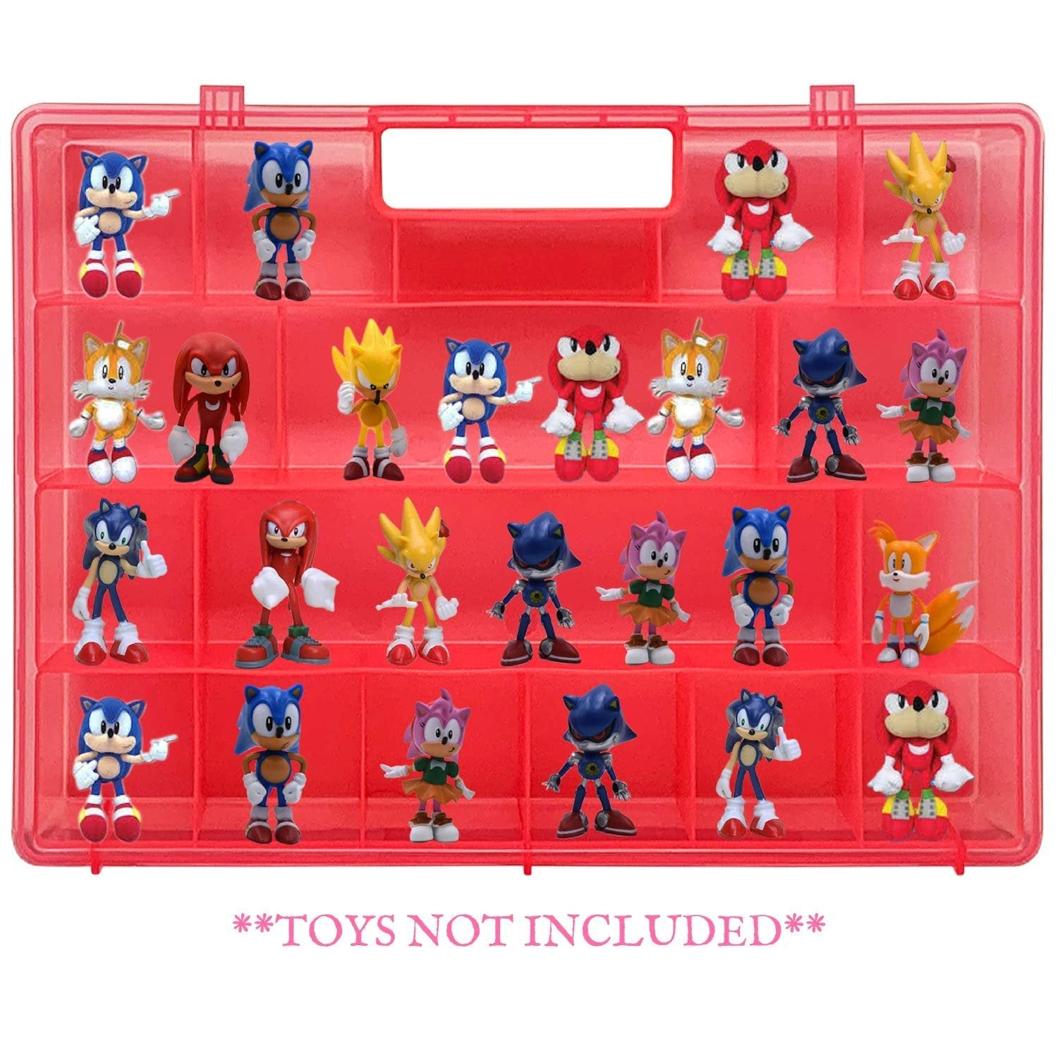 Life Made Better Pink Action Figure Toy Holder Case, Compatible with Sonic The Hedgehog, Stores & Protects Figures & Accessories, Made by LMB