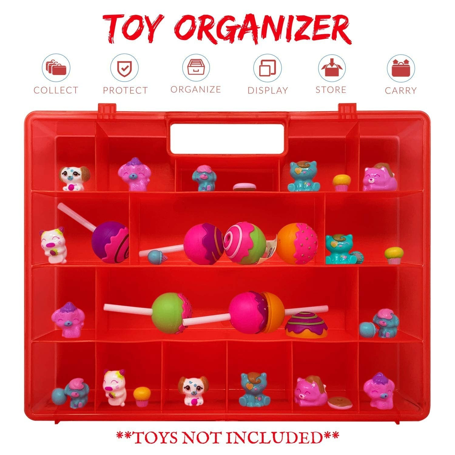 Life Made Better, Kid's Carry-Along Fun Red Case, Compatible with CakePop Cuties Mini Toys. Perfect Sized Mini-Figurines Organizer