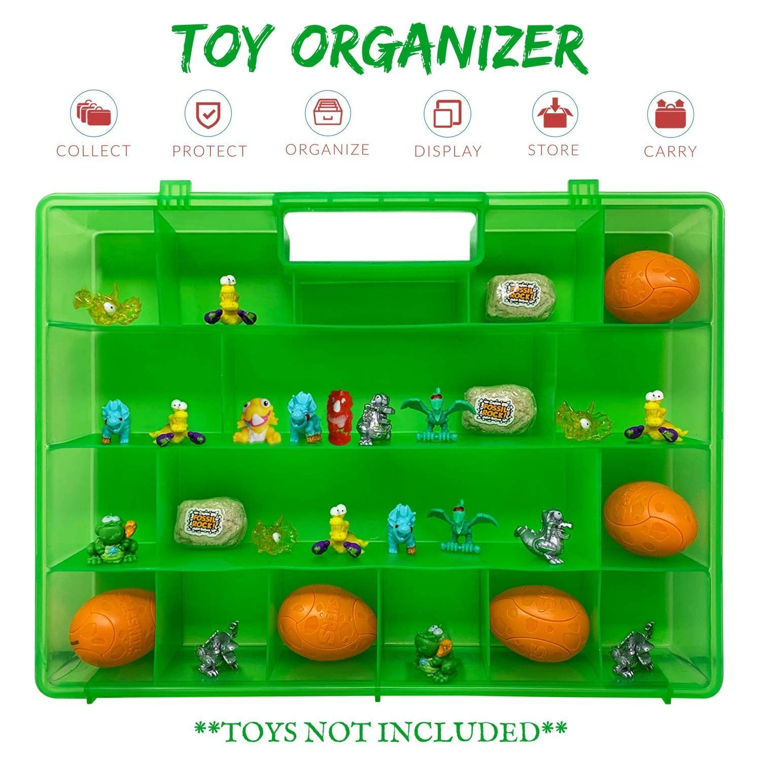 Life Made Better Mini Figure Organizer Case, Perfect for Toy Travel & Storage. Compatible with Smashers Dino Egg Figures, Created by LMB