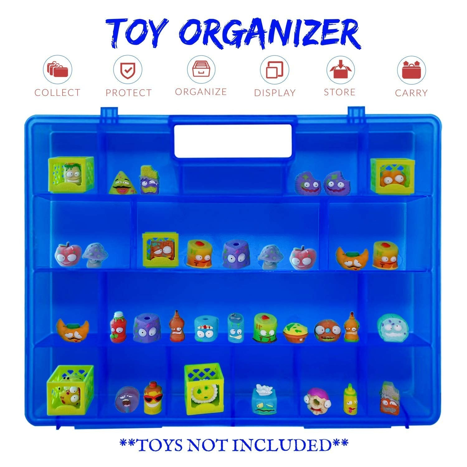 Life Made Better, Kid Blue Playset Toy Organizer with New Strengthened Handle, Compatible with Grossery Gang Figures, Toy Figures Case by LMB