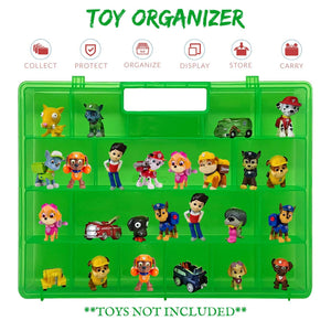 Life Made Better Well Built, Kid Proof Green Toy Organizer with a Stronger All-in-One Handle, Compatible with Paw Patrol Mini Figures, Fits Up to 30 Figures, Fun Favorite Created by LMB
