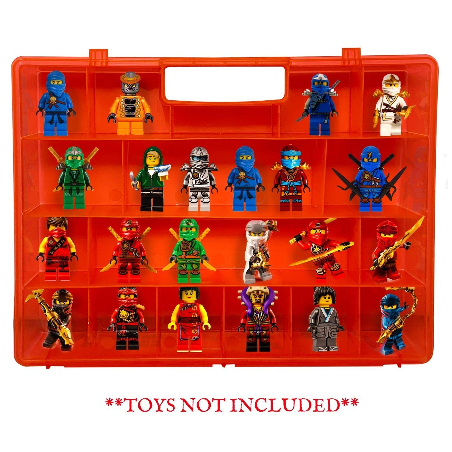 Life Made Better Reinforced Red Toy Carrying Case, Compatible with Lego Ninjago Mini Ninja Figurines, This Box is not Created or Sold by Lego