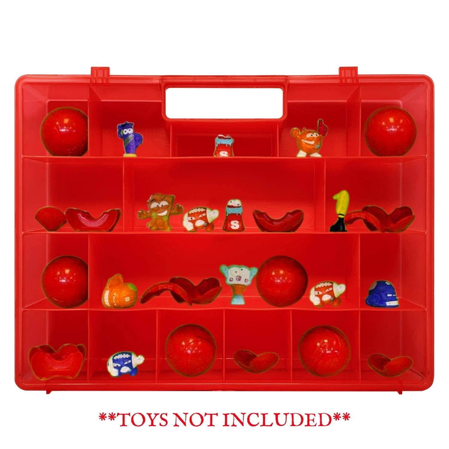 Life Made Better, Red Portable Display & Protector Storage Box with Solid Cover and Clasps, Works with Zuru Smashers, Toy Accessory Case Made by LMB