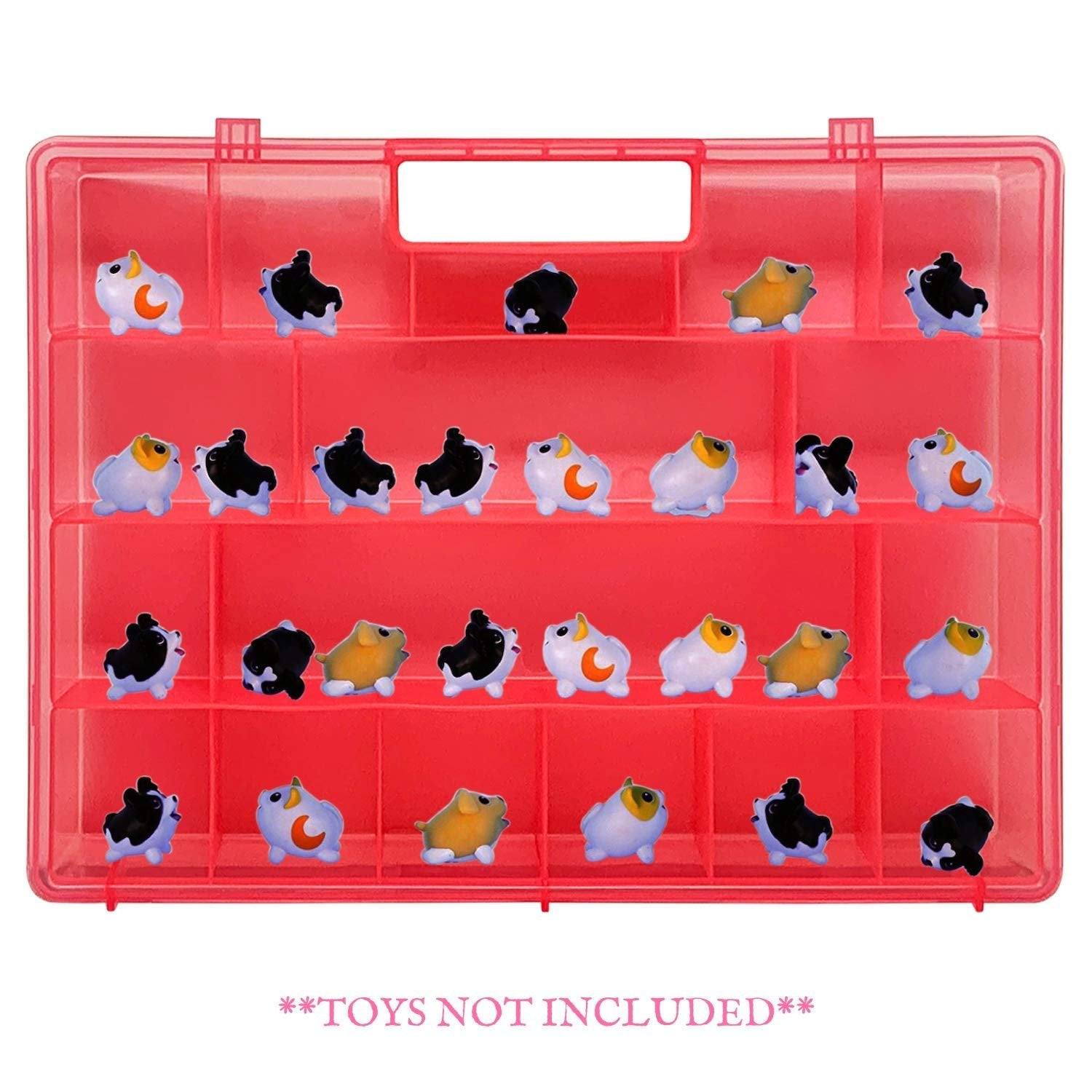 Life Made Better Strengthened Design, Pink Toy Storage Carrying Box. Figures Playset Organizer Compatible with Chubby Puppies, Accessories for Kids LMB