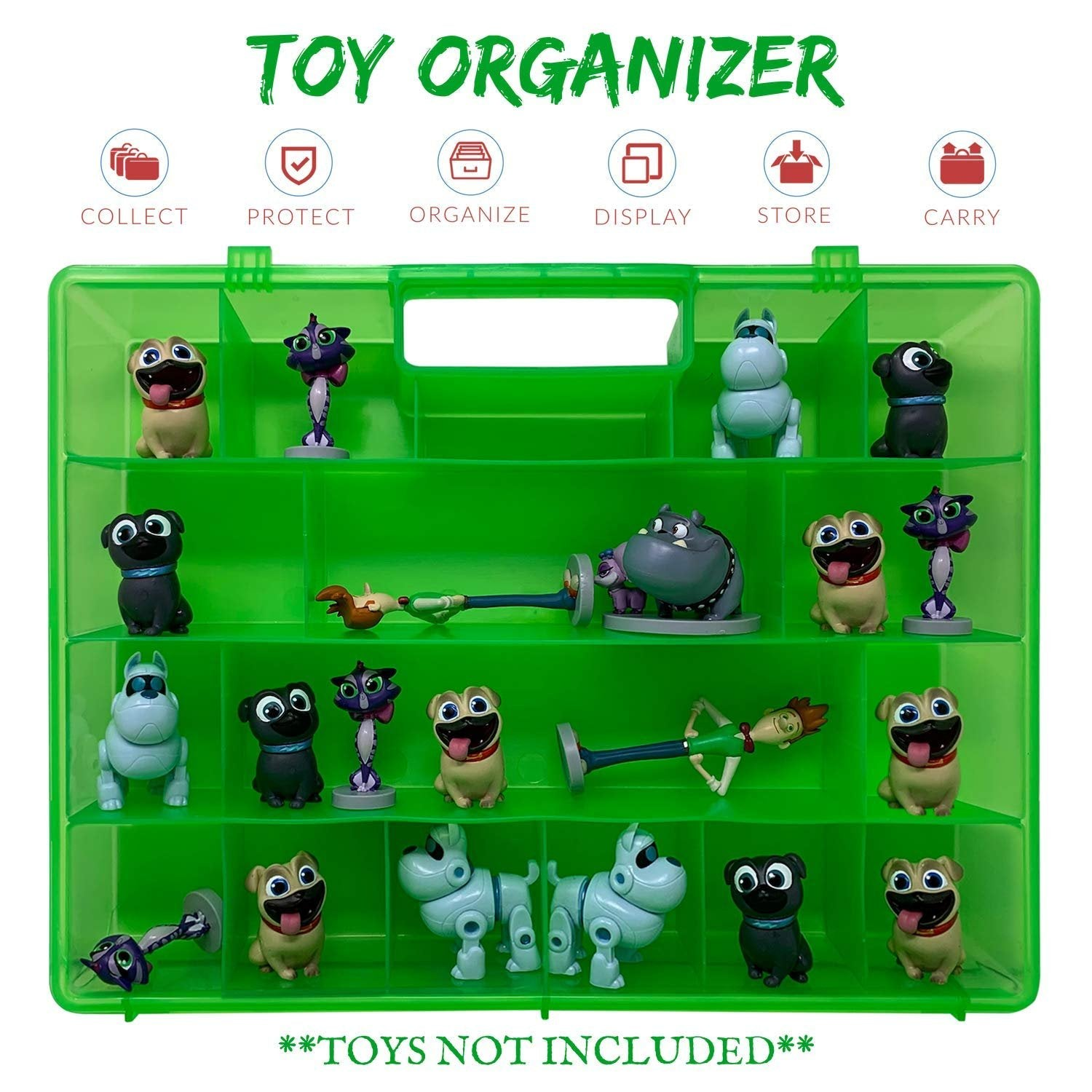 Life Made Better Strengthened Design, Toy Storage Carrying Box. Figures Playset Organizer Compatible with Junior Puppy Dog Pals, Accessories for Kids by LMB