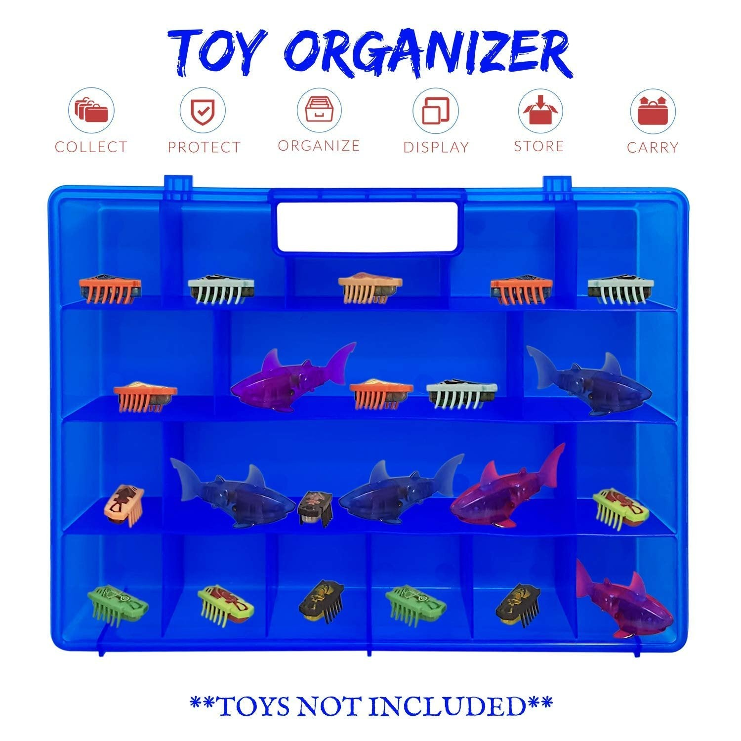 Life Made Better, Enhanced Blue Toy Storage Organizer. Fits Up to 40 Bug Toys, Compatible with Hex Bug TM Toy Figures, Created by LMB