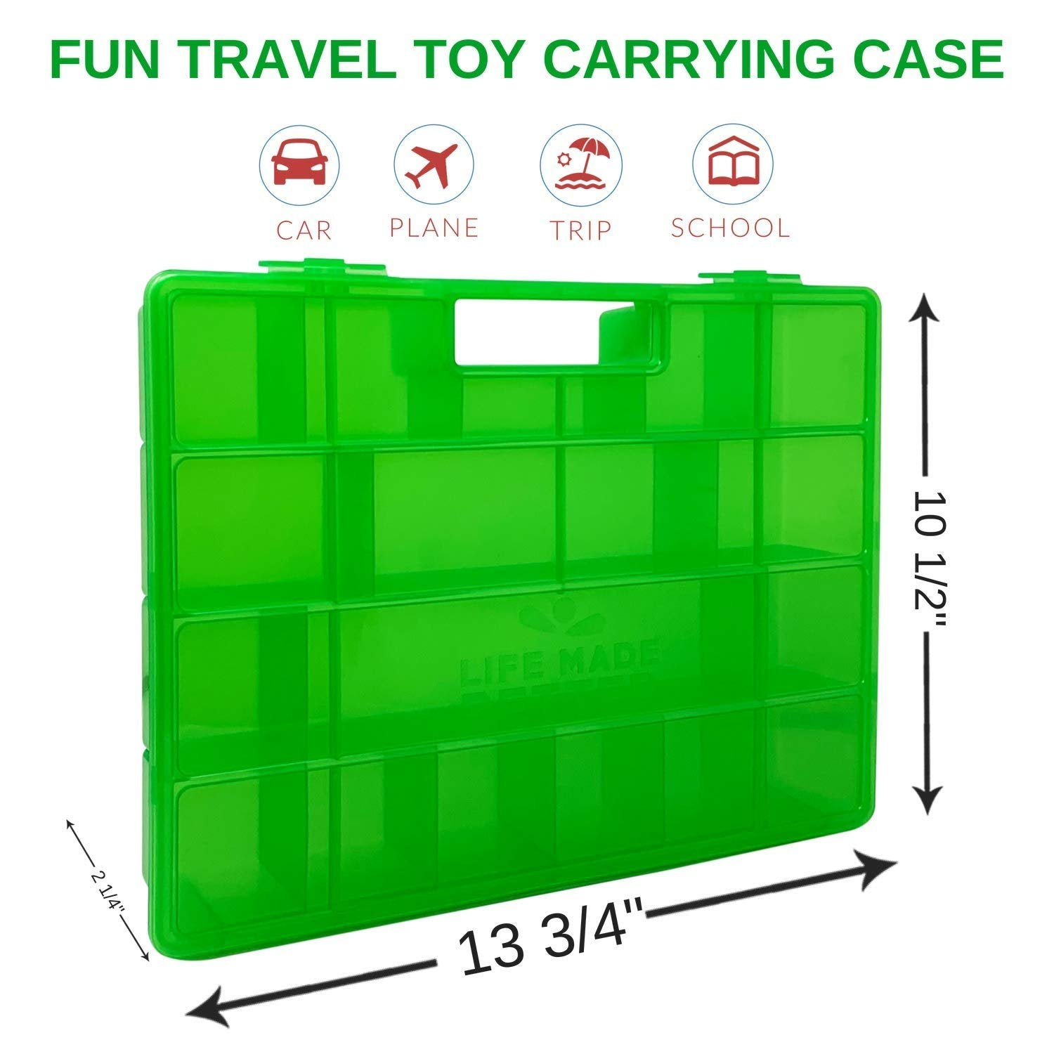 Life Made Better Green Carrying and Storage Case, Compatible with Funko Racers, Includes Multiple Individual Storage Compartments, Molded Handle, and Secure Fastening System