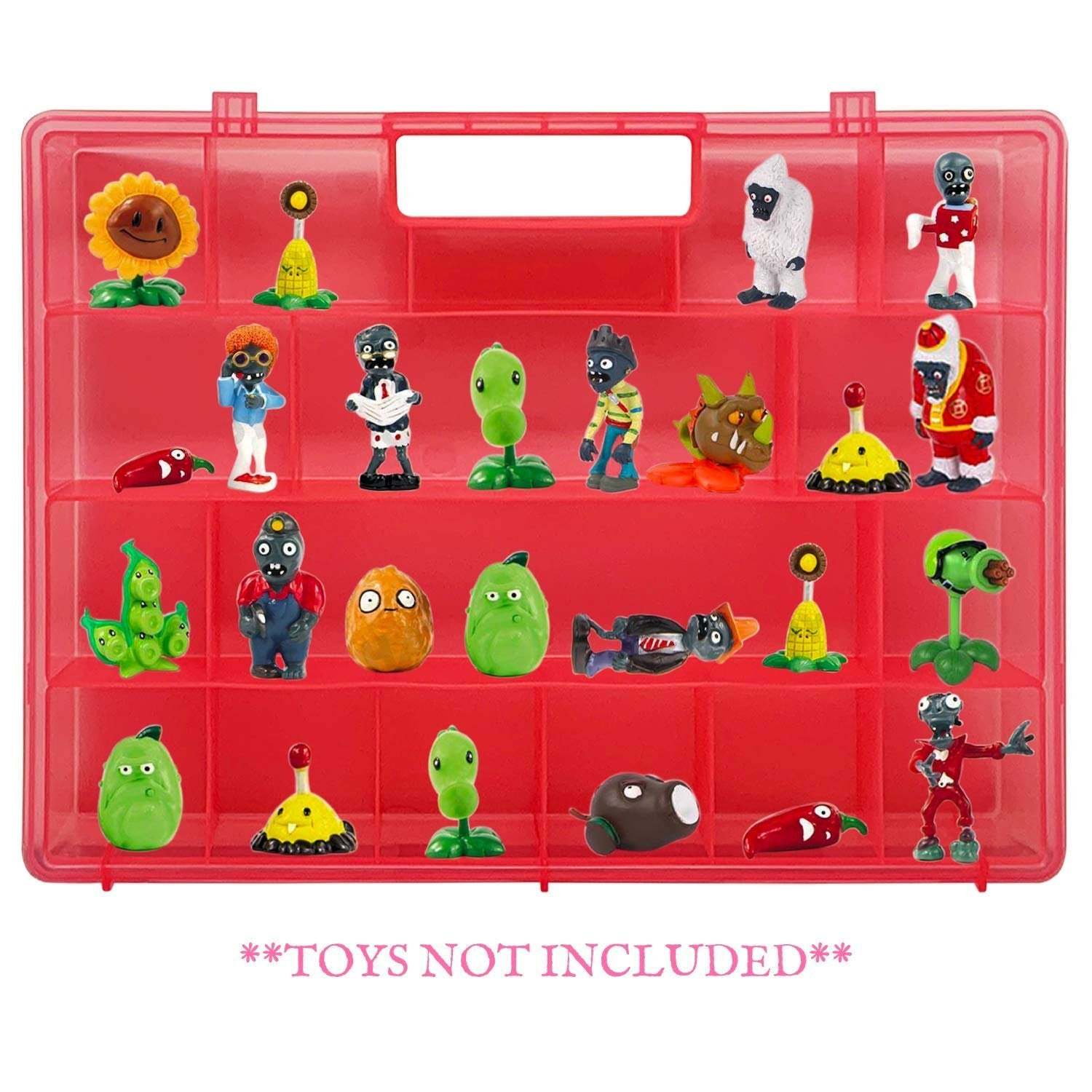 Life Made Better Reinforced, Well-Made Durable Design, Pink Toy Case, Compatible to fit Plants vs Zombies, Carrying Case for Toy Figurines and Accessories
