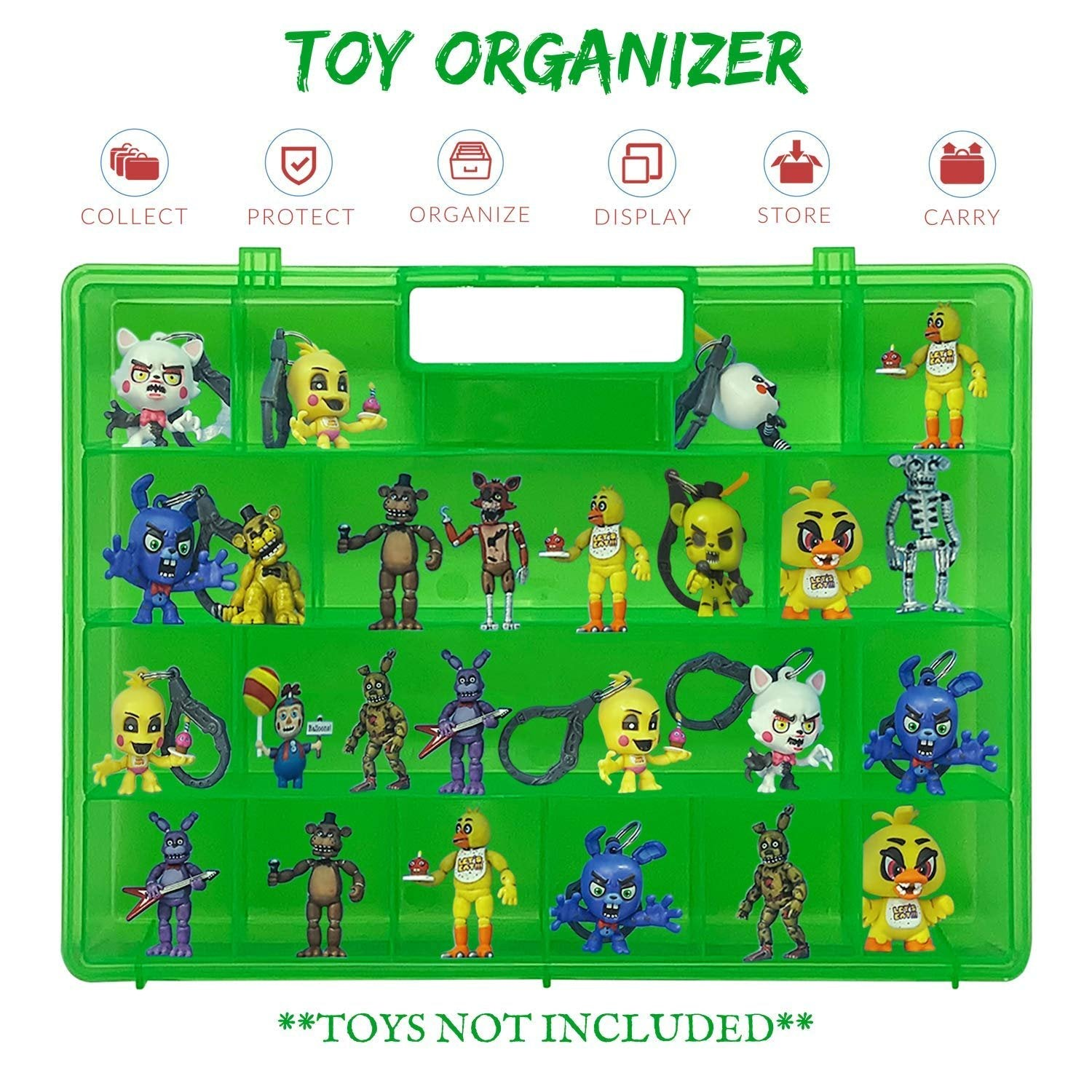 Life Made Better Fun Favorite Action Figures Green Case, Works with Five Nights at Freddy Figures, Long-Lasting, Solid Design Light Box with Built-in Handle, LMB Accessory & Organizer