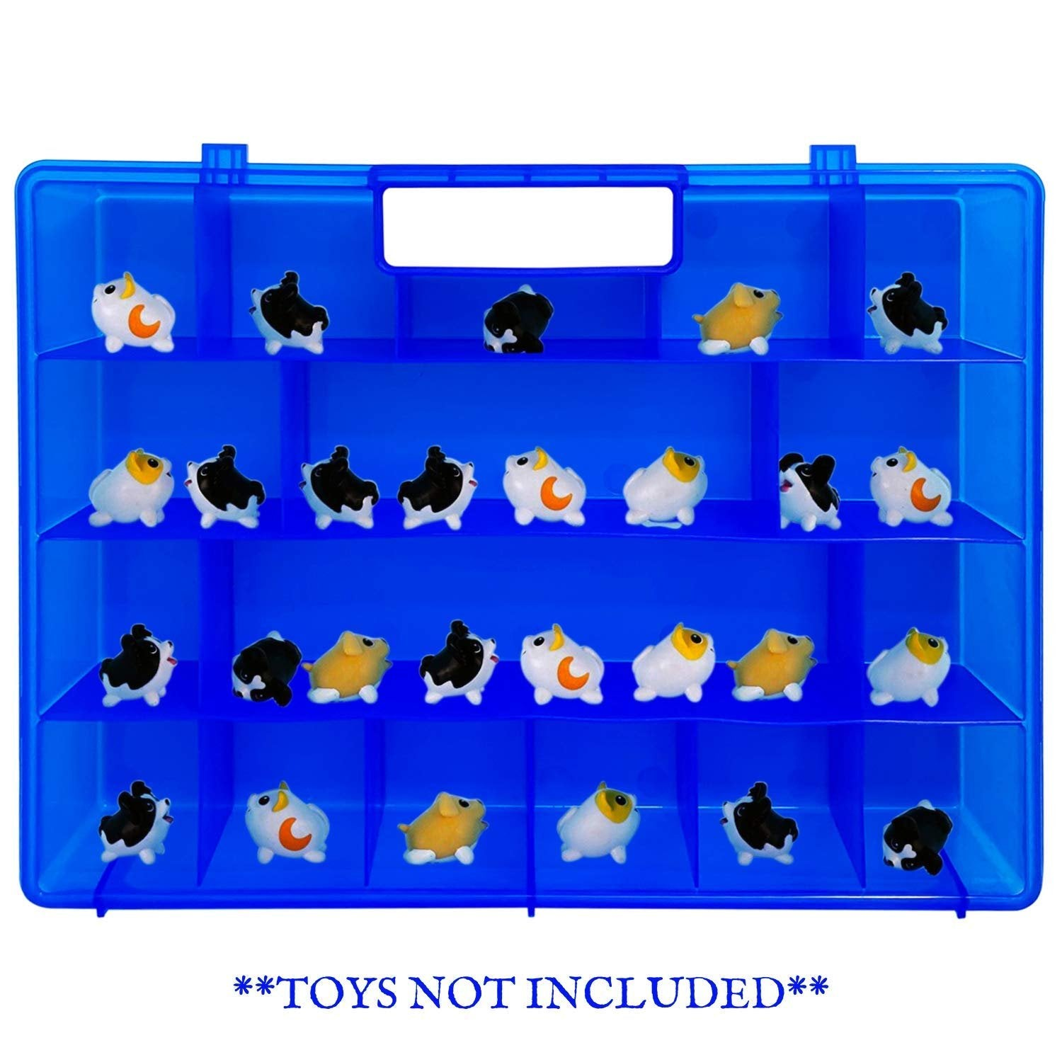 Life Made Better Protective, Stronger Blue Toy Storage Carrying Box. Figures Playset Organizer Compatible with Chubby Puppies, Accessories for Kids LMB