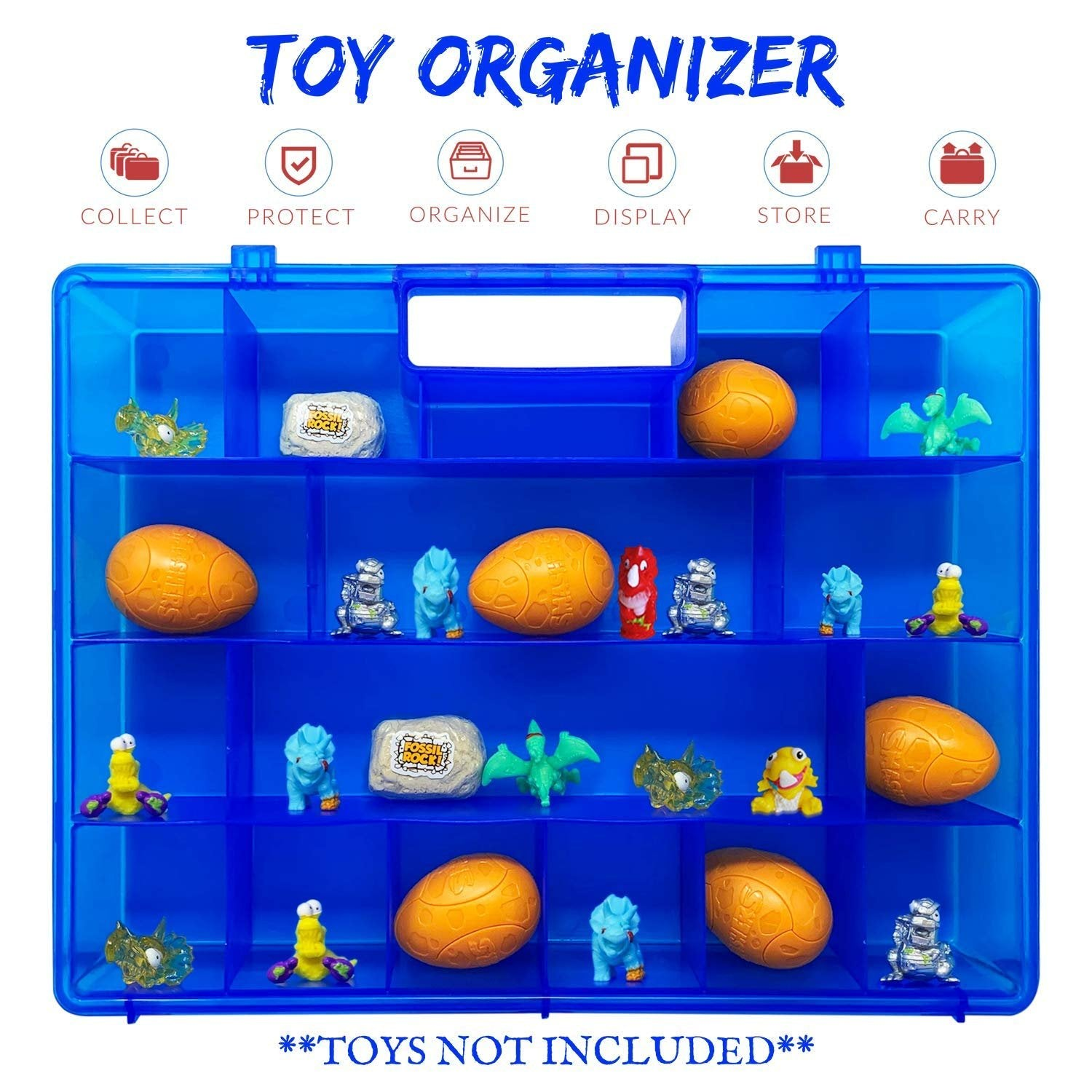Life Made Better All-in-One Fun-Blue Toy Organizer, Storage & Travel Case for Toys, Compatible with Smashers Dino Egg Figures, Accessory Made by LMB