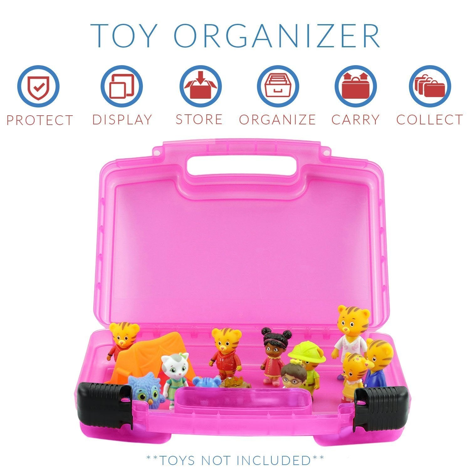 Daniel Tigers Case, Toy Storage Carrying Box. Figures Playset Organizer. Accessories for Kids by LMB