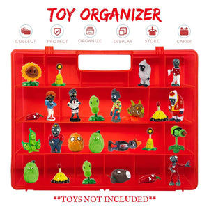 Life Made Better, Well-Made Red Toy Holder, Compatible with Plants vs Zombies, Light Weight, Easy to Carry Case for Mini Toy Figures and Accessories, by Life Made