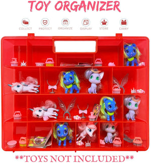 Life Made Better Toy Storage & Travel Case, Compatible with Hairdorables Pets Toys, Red Figurine & Accessory Organizer, Made by LMB