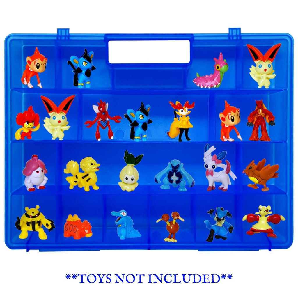 Life Made Better Blue Toy Organizer, Kid-Friendly, Fun Newly Strengthened Design Storage Case, Compatible with Pokemon TM Action Figures, Made by LMB, Toy Accessories for Kids