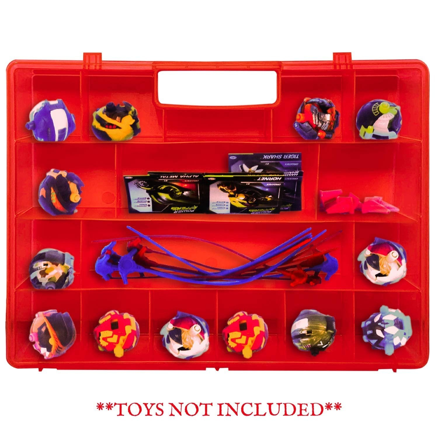 Life Made Better, Red Toy Display Box with Separate Storage Spaces, Compatible with Power Rippers, Toys & Accessories Case, Created