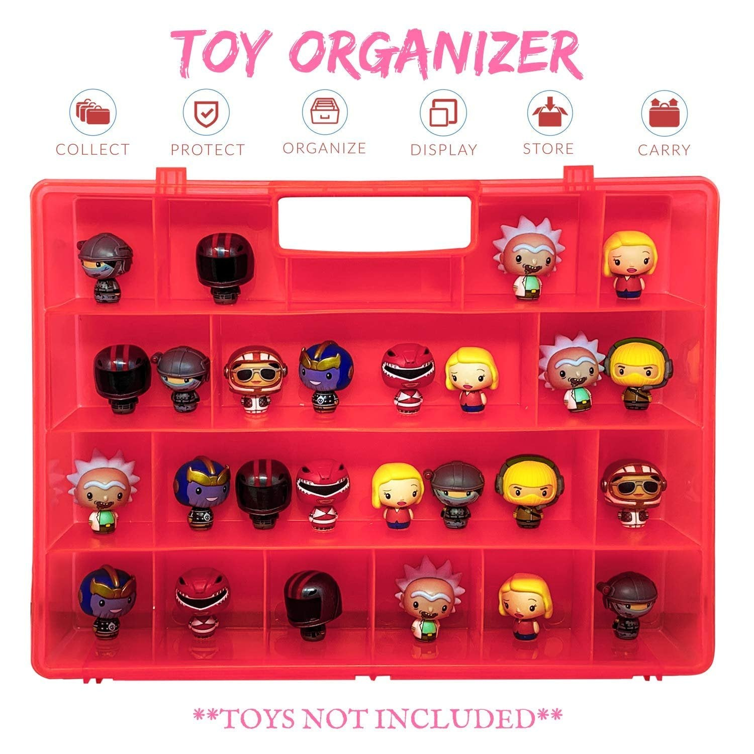 Life Made Better Pink Toy Storage Box Organizer, Sturdy, Protective Toy Storage Organization Case Compatible with Funko Pop Pint Size Mini Figures, Not Made by Funko