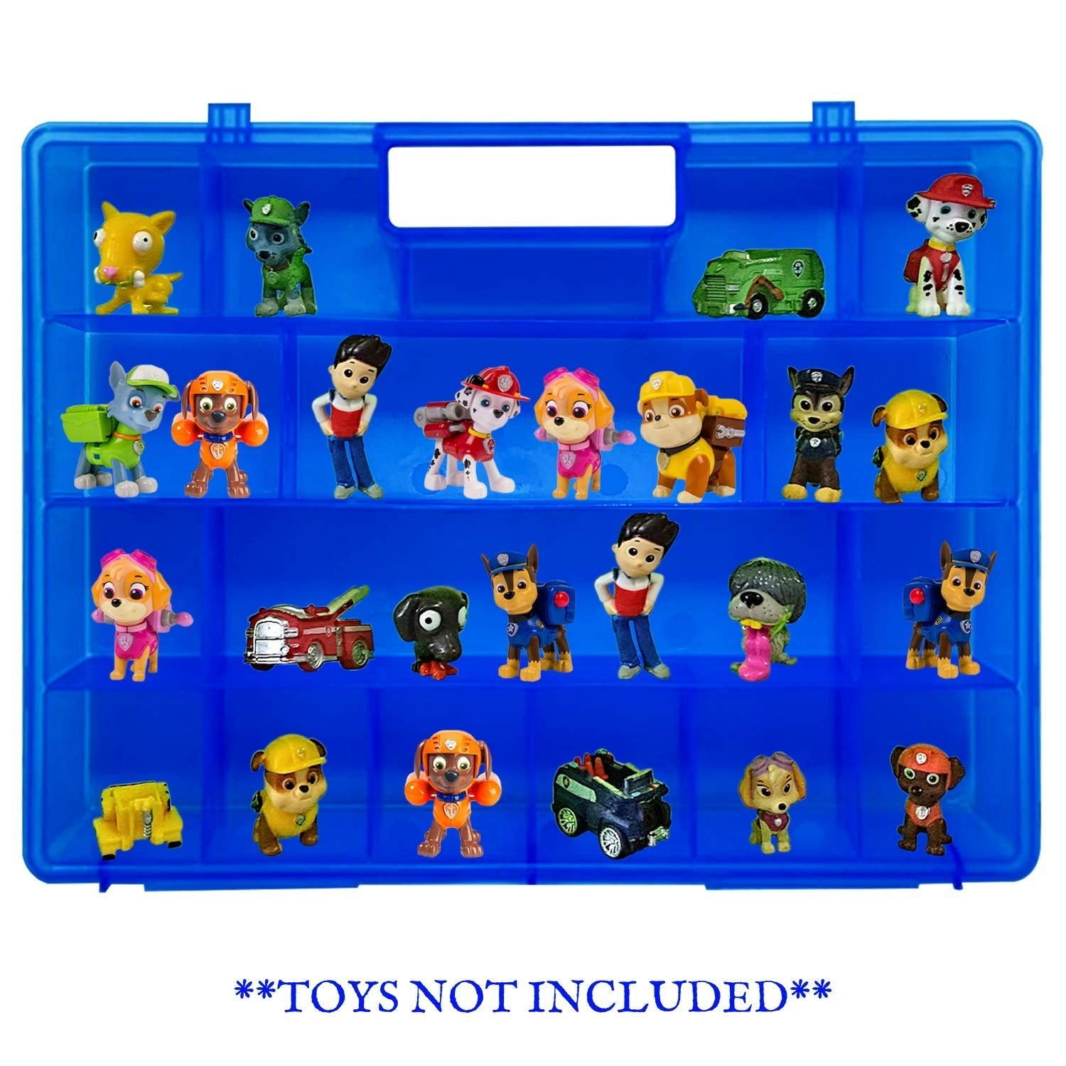 Life Made Better, Convenient Blue Advanced Design Take-Along Toy Carrier Case, Compatible with Paw Patrol Mini Figures, Will Store up to 30 Figures, Accessory Created by LMB