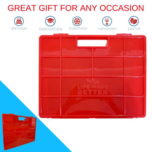 Life Made Better, New Red Model Carrying Storage Case. Organizer for Figurine Toys and Accessories Compatible with Junior Puppy Dog Pals, Made