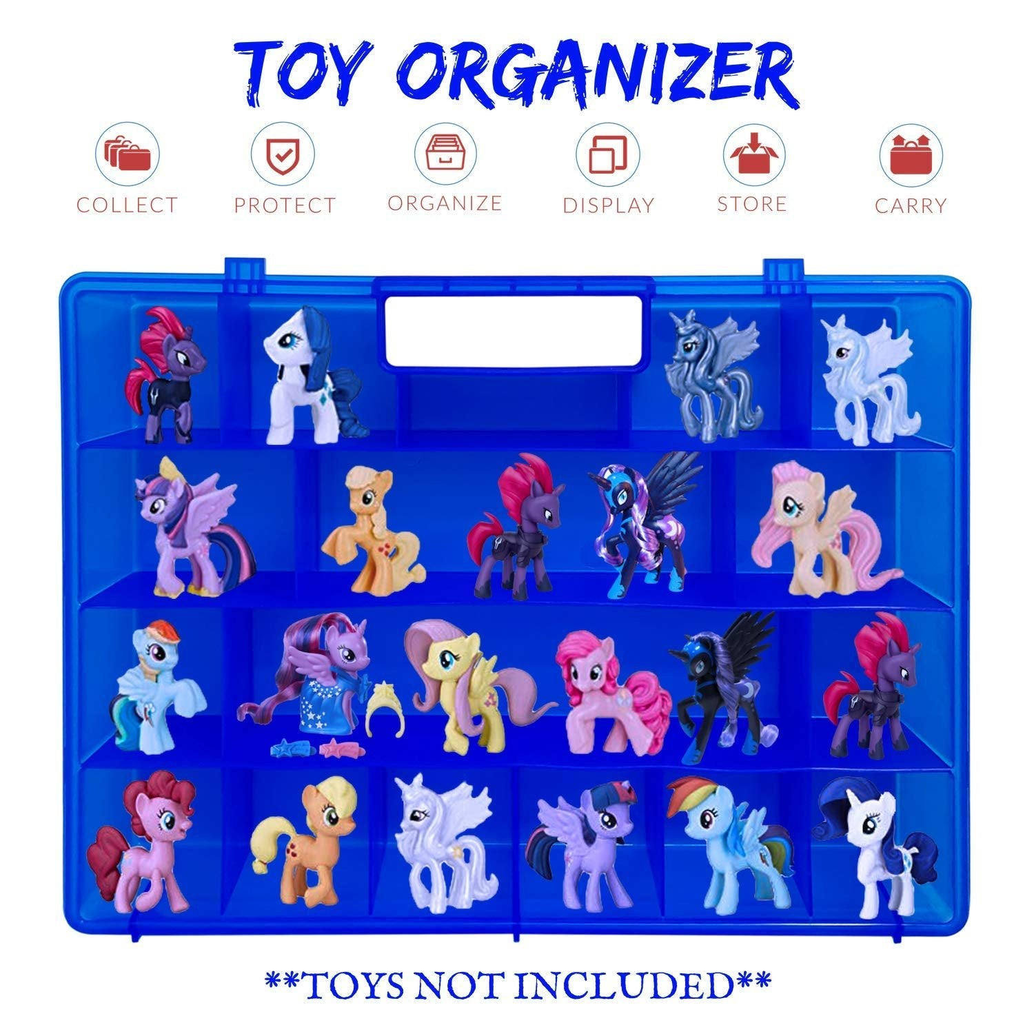 Life Made Better, Toy & Accessory Holder, Kid Figurines Display & Portable Toy Case, Compatible with My Little Pony Mini Toy Figurines, Toy Storage Organizer