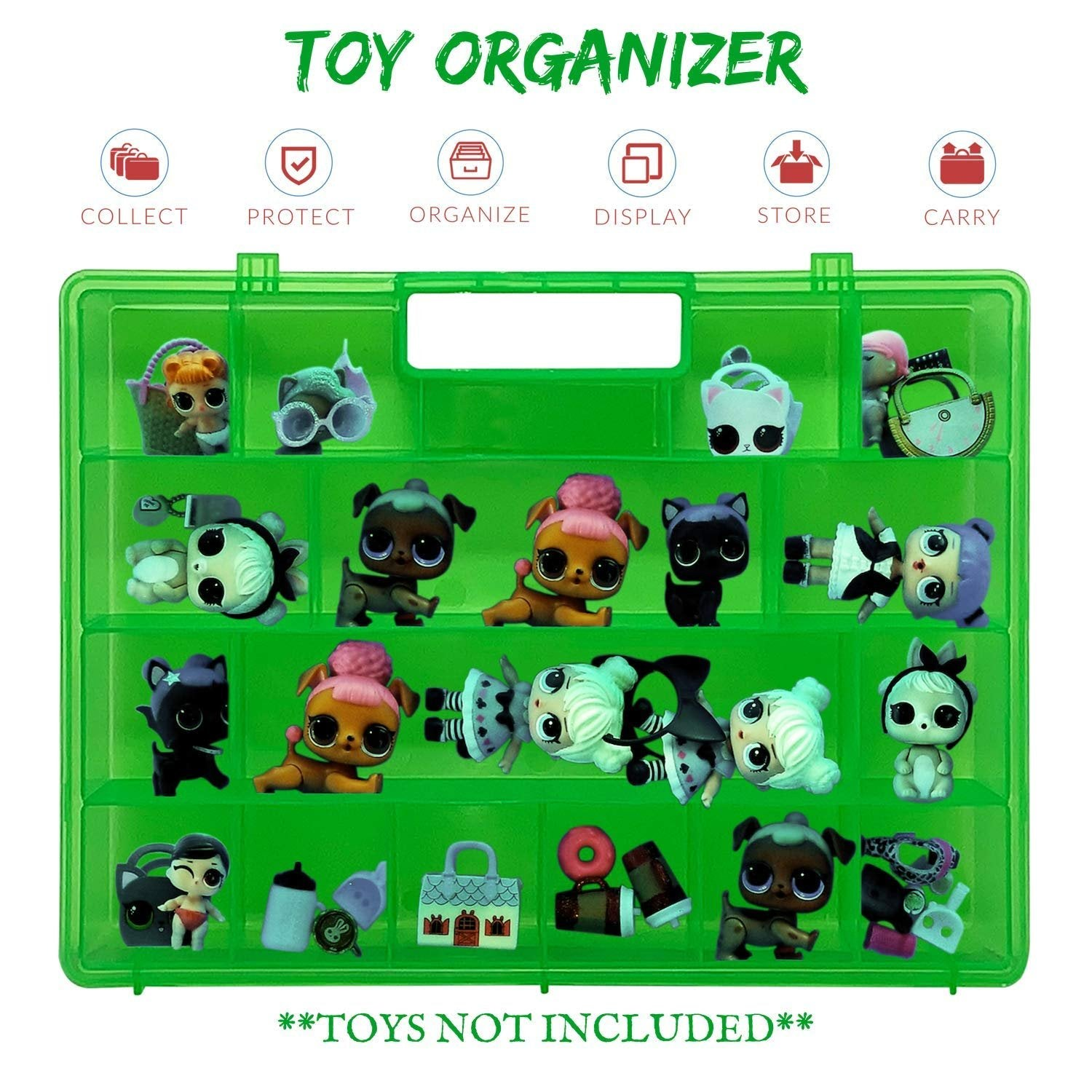 Life Made Better Reinforced Newly Designed Green Organizer Box for Dolls and Accessories, Great Gift Idea for Big Sister & Lil Sister