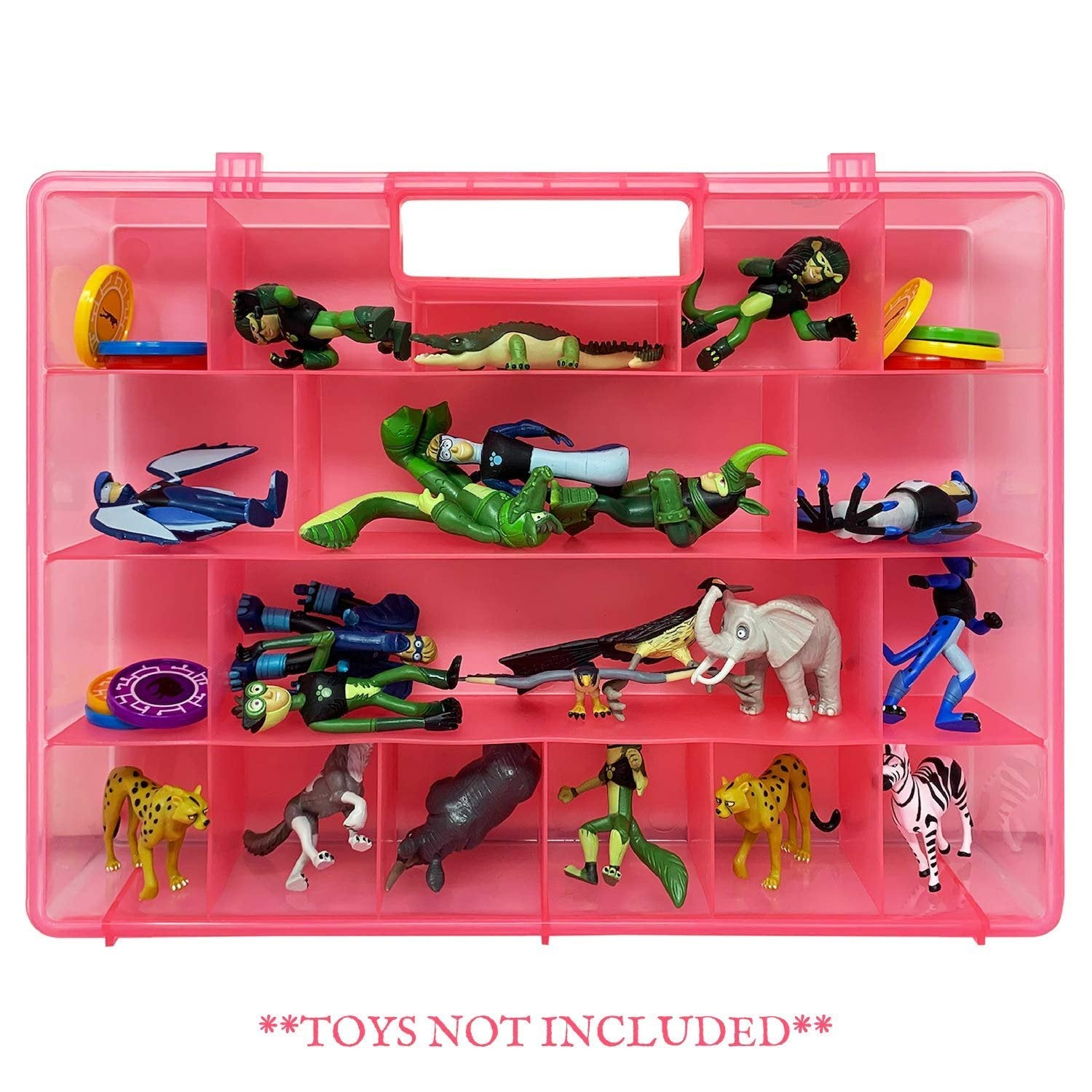 Life Made Better, Pink Toy Carrying Case Compatible with Wild Kratts Figurines. Durable, Long-Lasting Toy Storage Box, not Made by Wild Kratts, Created by LMB