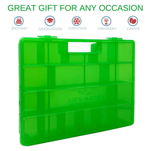 Life Made Better Solid, Reinforced Green Toy Carrying Case, Compatible with Lego Ninjago Mini Ninja Figurines, This Box is Not Created by Lego