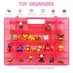 Life Made Better Sturdy, Reinforced Pink Toy Carrying Case, Compatible with Pokemon Action Figures, This Box is Not Created by Pokemon